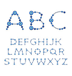 Alphabet from jewelry with eye fatima vector