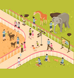 Animal park isometric composition vector
