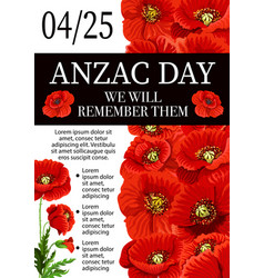 anzac day lest we forget remembrance poster vector image