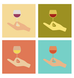 Assembly flat icons poker glass of wine vector