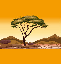 Background scene with tree in dry land vector