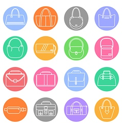 Bag purse icons set vector