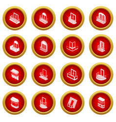 balcony window forms icons set simple style vector image