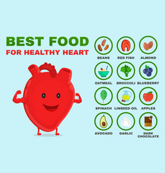 best food for healthy heart strong heart vector image