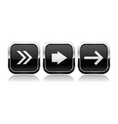 Black button next set square shiny 3d icons vector
