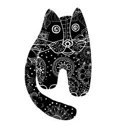 Black cat of flowers vector image