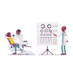 Black male dentist and ophthalmologist vector