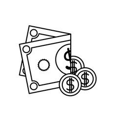 Black silhouette of coins and folded money vector