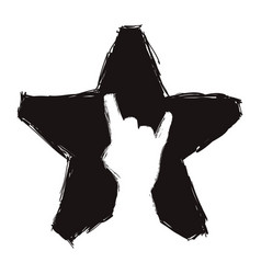 Black star with one hand inside doing the rock vector