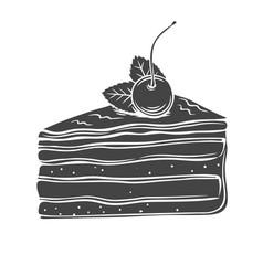 Cake monochrome icon vector