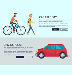 Car free day and driving vector
