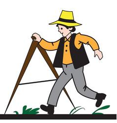 Cartoon boy measures the land vector