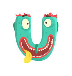 Cartoon character monster letter u vector