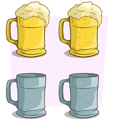 cartoon colorful beer mugs icon set vector image