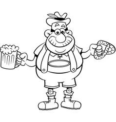 cartoon man holding a beer and a pretzel vector image