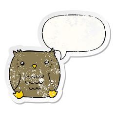 Cartoon owl and speech bubble distressed sticker vector