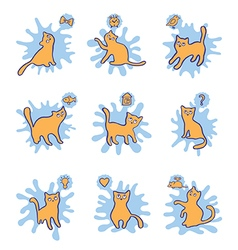 Cat dreams set print for kids vector
