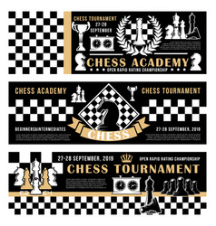 Chess game academy open tournament poster vector