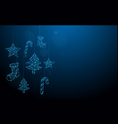 Christmas ornaments hanging form line and particle vector