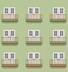 Closed Doors With Balcony Vintage Style vector image