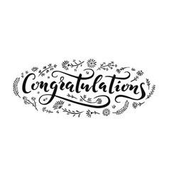 congratulations lettering handwriting vector image