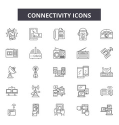 connectivity line icons signs set vector image