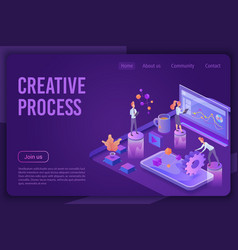 creative process isometric landing page vector image