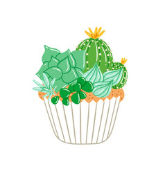Cupcake with creamy succulents vector
