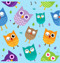 Cute owl seamless pattern background design vector