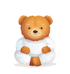 cute teddy bear relaxing in pajamas soft toy vector image
