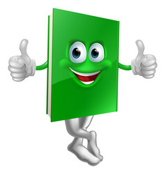 Cute thumbs up green book character vector