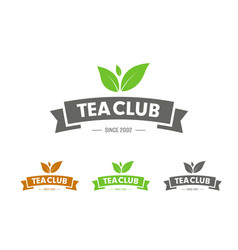 design logo with ribbon and leaves for tea club vector image