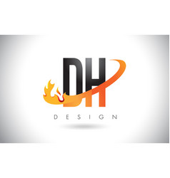 Dh d h letter logo with fire flames design and vector
