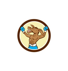 Donkey Boxing Celebrate Circle Cartoon vector image