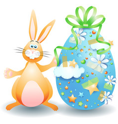 easter bunny and easter egg isolated on white vector image