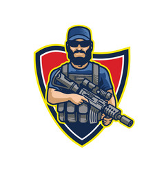 Elite bearded male commando soldier carrying vector