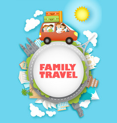Family travel in paper art vector