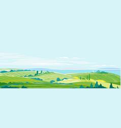 Farming hills summer landscape background vector