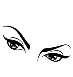 female eyes set two vector image