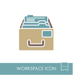 Filing cabinet outline icon workspace sign vector