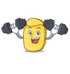 Fitness potato chips character cartoon vector