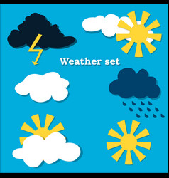 flat design weather icons set vector image