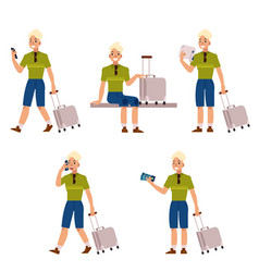 flat man tourist travel bag suitcase set vector image