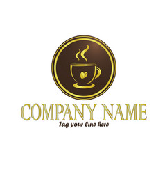 gold coffee cup logo vector image