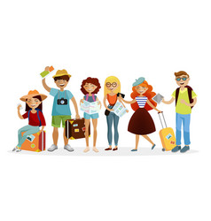 group of tourists cartoon characters flat vector image