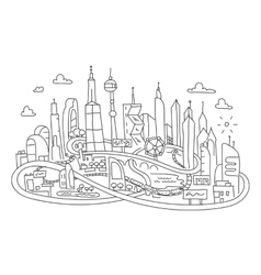 Hand line drawing futuristic city architecture vector image vector image