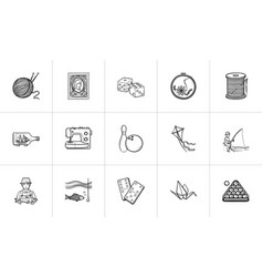 hobby hand drawn sketch icon set vector image