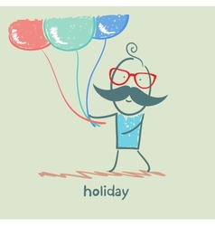 holiday at the person with balloons vector image