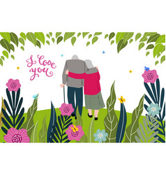 i love you greeting card with senior couple and vector image