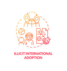 Illicit international adoption red concept icon vector